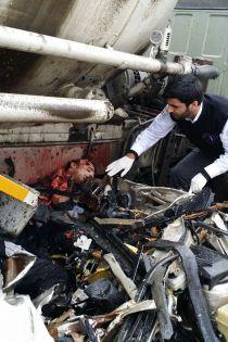 عکس جدید از تصادف دلخراش و وحشتناک پژو و کامیون